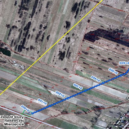Mapa poglądowa trasy gazociągu (ortofotomapa)
